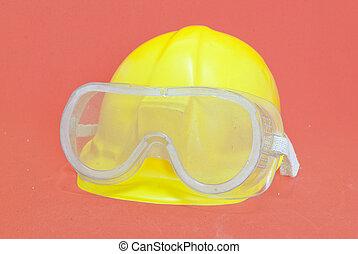 capacete, óculos proteção, amarela