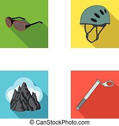 capacete, óculos proteção, cunha, segurança, picos, em, a, clouds.mountaineering, jogo, cobrança, ícones, em, apartamento, estilo, vetorial, símbolo, ilustração acionária, web.
