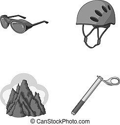 capacete, óculos proteção, cunha, segurança, picos, em, a, clouds.mountaineering, jogo, cobrança, ícones, em, monocromático, estilo, vetorial, símbolo, ilustração acionária, web.
