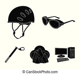 capacete, óculos proteção, cunha, segurança, picos, em, a, clouds.mountaineering, jogo, cobrança, ícones, em, pretas, estilo, vetorial, símbolo, ilustração acionária, web.