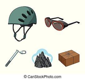 capacete, óculos proteção, cunha, segurança, picos, em, a, clouds.mountaineering, jogo, cobrança, ícones, em, caricatura, estilo, vetorial, símbolo, ilustração acionária, web.