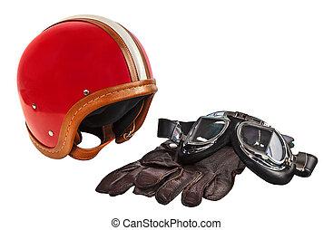 capacete, óculos proteção, luvas, motor, vindima