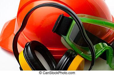 capacete, óculos proteção, segurança, fones ouvido, vermelho