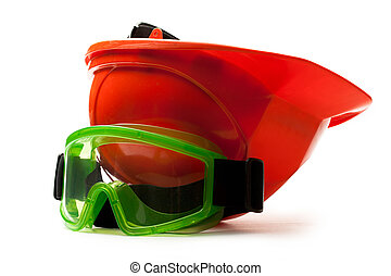 capacete, óculos proteção, segurança, vermelho