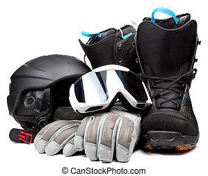 capacete, acessórios, botas, óculos proteção, luvas, snowboarding