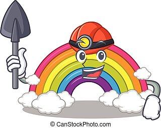 capacete, arco íris, desenho, ferramenta, mineiro, caricatura, conceito