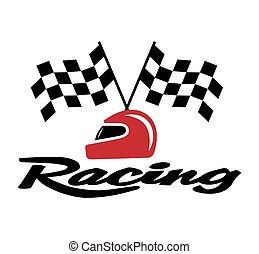 capacete, bandeira, checkered, correndo