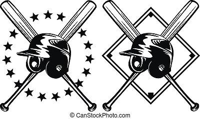 capacete, bastões baseball, cruzado