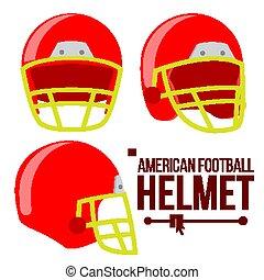 capacete, cabeça, rúgbi, clássicas, futebol, equipment., isolado, apartamento, americano, proteção, ilustração, vector., desporto, vermelho, helm.