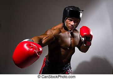capacete,  close-up, boxe, jovem, Retrato, homem