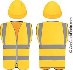 capacete, colete, segurança