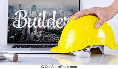 capacete, conceito, construtor, cima, computador, segurança, colheita, engenheiro