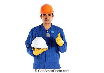 capacete, conceito, trabalhador, ásia, construção, segurança