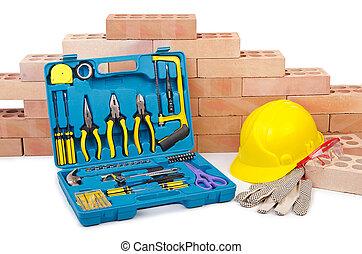 capacete, construção, conceito,  toolkit