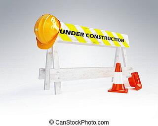 capacete, construção, sob