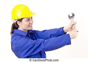 capacete, construtor, chave, femininas, grande