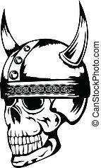 capacete, cranio, 3, vikings