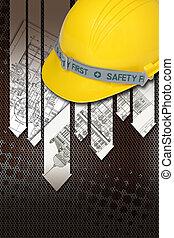 capacete, de, construtor, com, desenhos técnicos, construção edifício