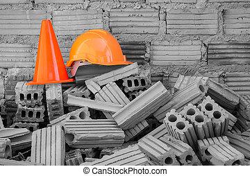 capacete, difícil, local, construção, cone segurança, chapéu