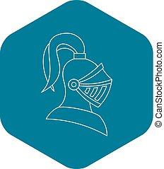 capacete, estilo, medieval, cavaleiro, ícone, esboço