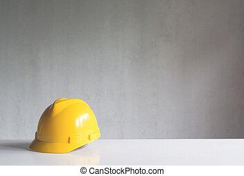 capacete, ferramentas, amarela, equipamento, construção, segurança, tabela., ou