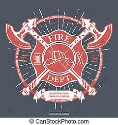 capacete, fogo, machados, t-shirt, vetorial, dept., label., cruzado, graphics.