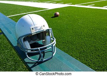 capacete, futebol americano, banco