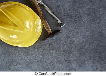 capacete, jogo, ferramentas, amarela