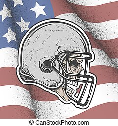 capacete, jogo, football., cranio
