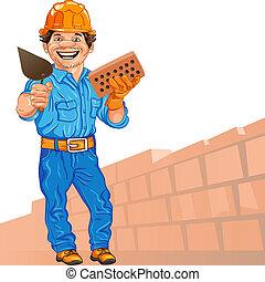 capacete, mão, trowel, contra, pedreiro, alegre, parede, fundo, laranja, tijolo