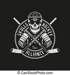capacete, mascote, hóquei, cranio, logotipo