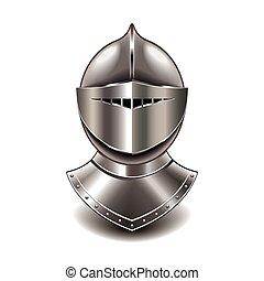 capacete, medieval, cavaleiro, isolado, vetorial, branca