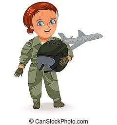 capacete, mulher, seu, femininas, trabalhe, trabalhador, braços, ilustração, uniforme, vetorial, forte, profissões, feministas, não, militar, menina, , piloto