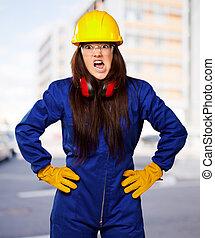 capacete, mulher, trabalhador