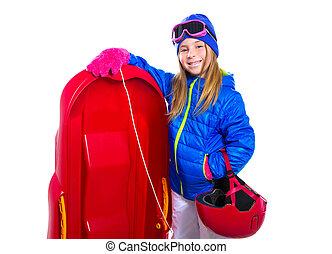 capacete, neve sled, equipamento, óculos proteção, loura, menina, vermelho, criança