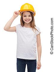 capacete, pequeno, protetor, menina sorridente