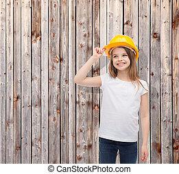 capacete, pequeno, protetor, sorrindo, menina