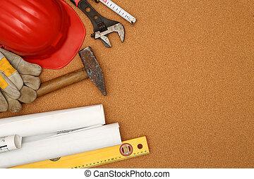 capacete, planos, ferramentas