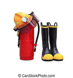 capacete, sapatos, extintor