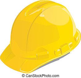 capacete, segurança, amarela