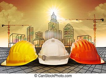 capacete segurança, e, predios, constru