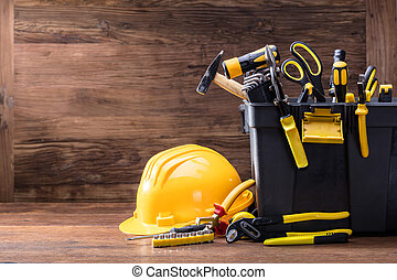 capacete, segurança, recipiente, ferramentas, pretas