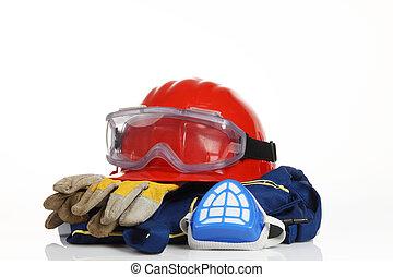 capacete, segurança, vermelho, equipamento