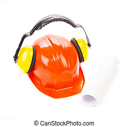 capacete, segurança, vermelho, fones ouvido
