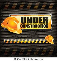 capacete, sinal construção, sob, &