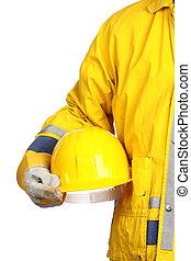 capacete, trabalhador, amarela