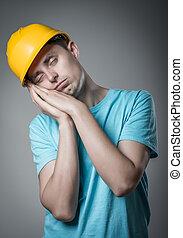 capacete, trabalhador, dorme