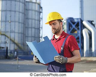 capacete, trabalhador, engenheiro