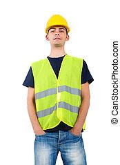 capacete, trabalhador, isolado
