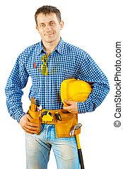 capacete, trabalhador, isolado, segurando